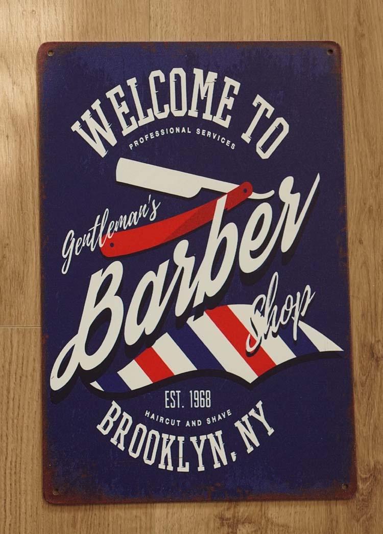 "Billboard  "" Welcome to gertleman's barber shop brooklyn """