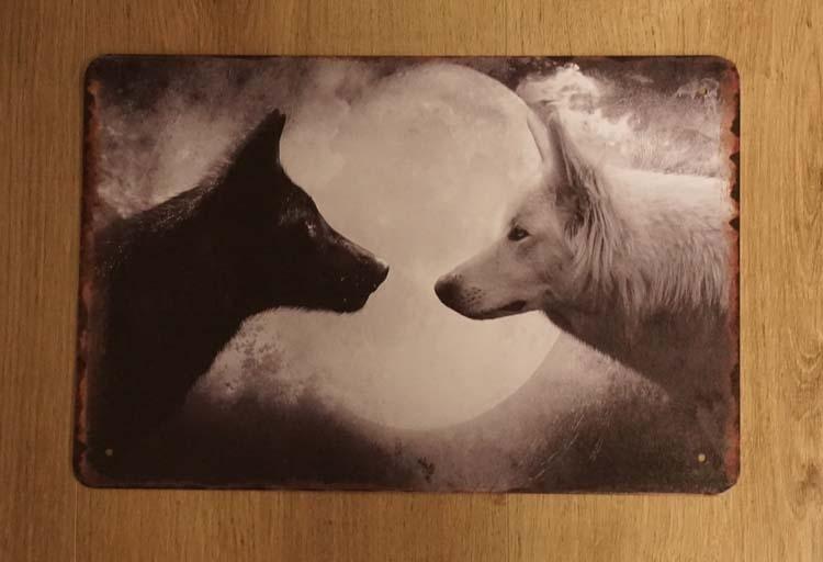 """Billboard  """" Witte en zwarte wolf """""""