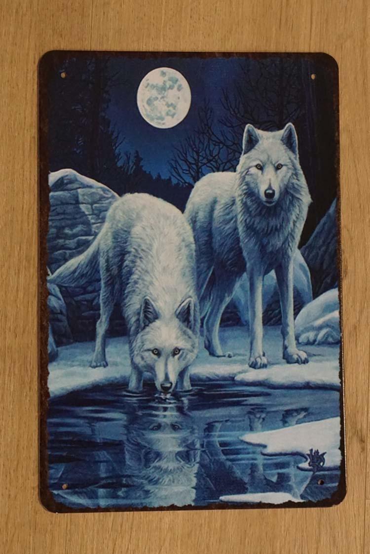 """Billboard  """" Wolven bij rivier met volle maan """""""