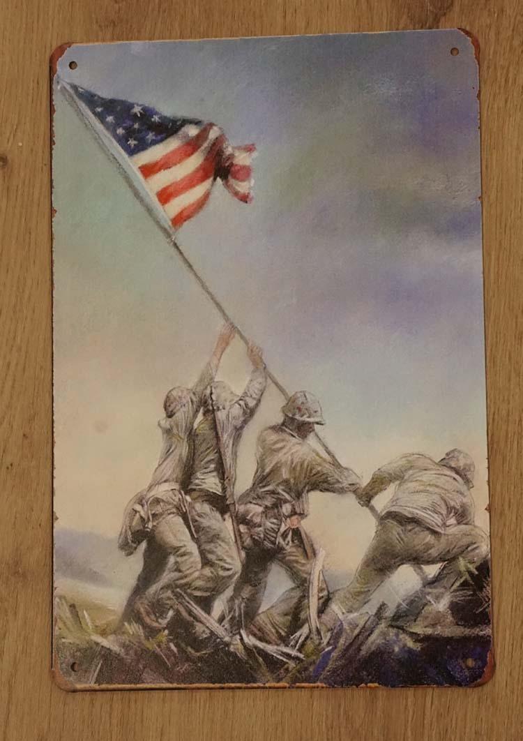 """Billboard """" Americaanse soldaten de vlaggen aan het hijsen """""""