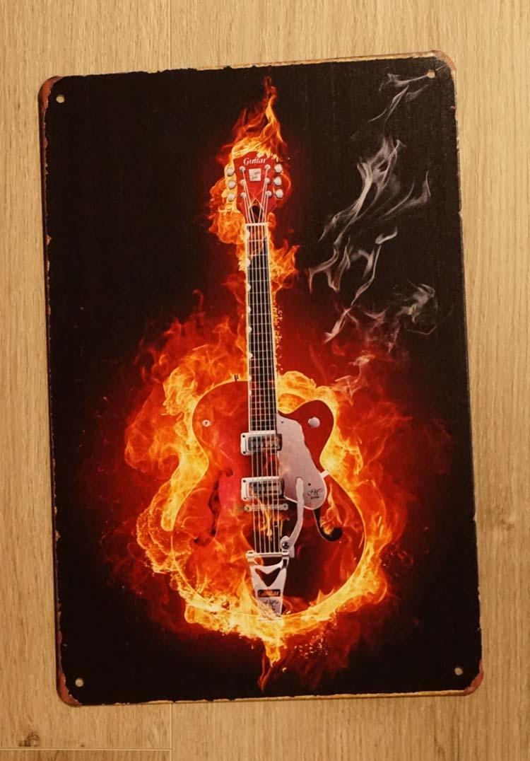 """Billboard """" Gitaar in vlammen """""""