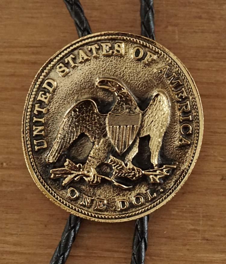 """Bolo tie  """" Munt United states of America  """"   goudkleurig"""