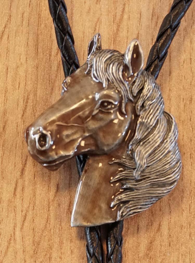 """Bolo tie  """" Paarden hoofd """" bruin"""