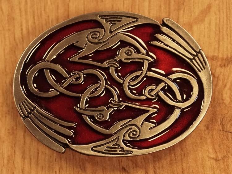 """Buckle  """" 2 keltische vogels """"  rood"""