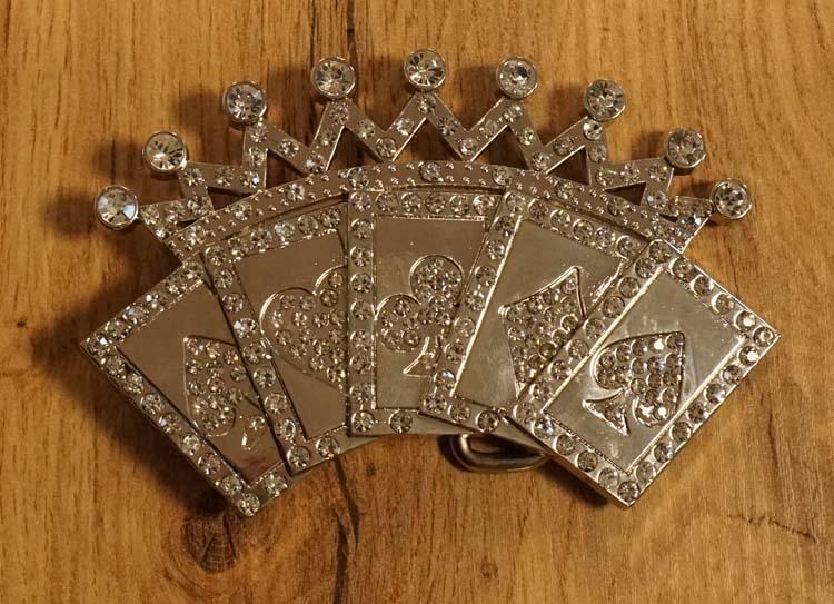 """Buckle """"  4 Azen met kroon """"  zilverkleurig met strass"""