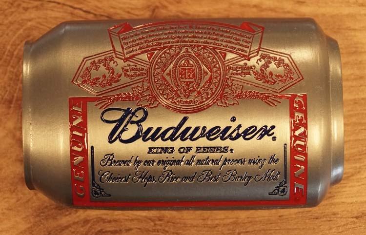 "Buckle  "" Budweiser can ""   nikkelkleurig / rood / blauw"