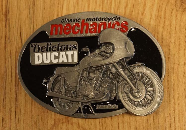 "Buckle  "" Classic motorcycle mechanics "" Delicious Ducati"