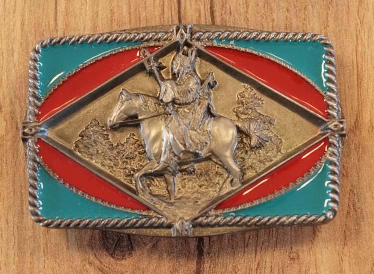 """Buckle  """" Indiaan op paard """""""