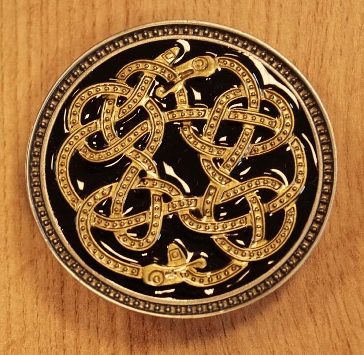 """Buckle  """" Keltisch knoop slang """"  goudkleurig / zwart"""