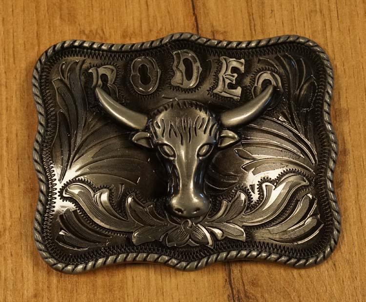"""Buckle  """" Stierenkop rodeo """" nikkelkleurig"""