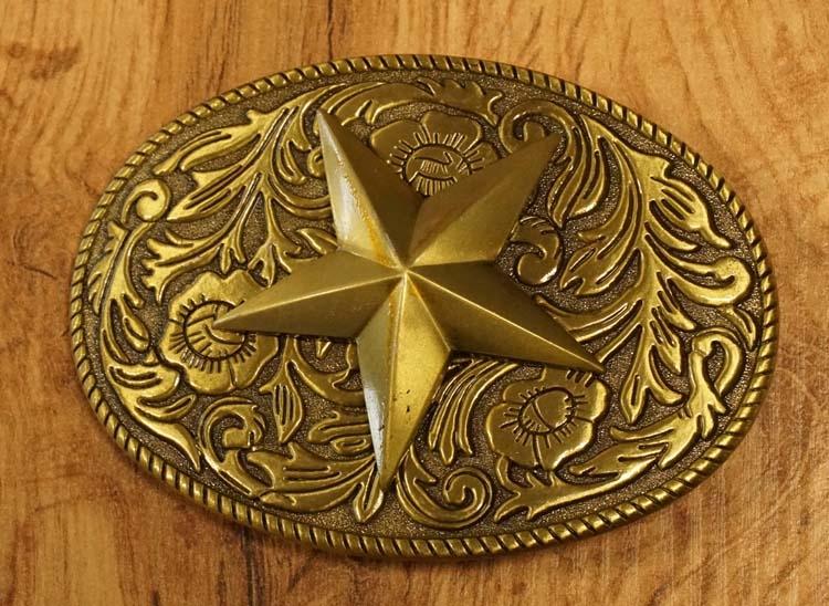 """Buckle  """" Texas ster op bloemenschild """"  koperkleurig"""