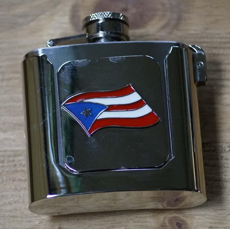 """Buckle / gesp  """" Heupfles met Puerto Rican vlag """""""