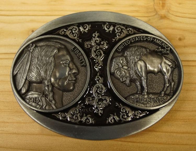 """Buckle / gesp  """" Indiaan + bizon """"    nikkel kleurig"""
