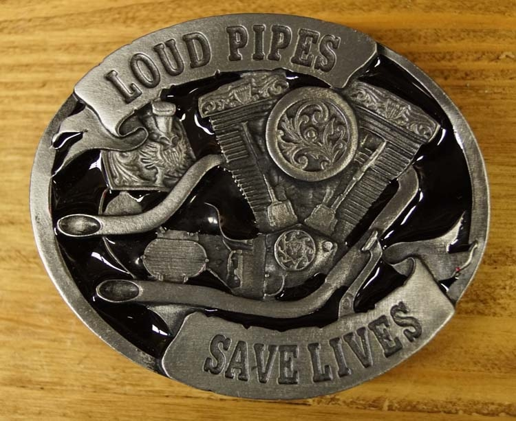 """Buckle / gesp  """" Loud pipes save lives """""""