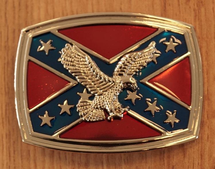 """Buckle / gesp  """" Rebel vlag met adelaar """"  zilverkleurig"""