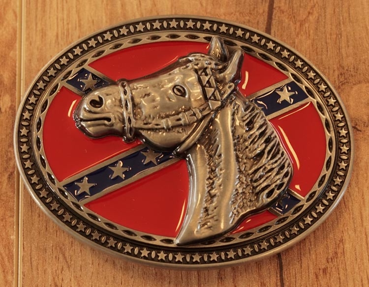 """Buckle / gesp  """" Rebelvlag met paardenhoofd """""""