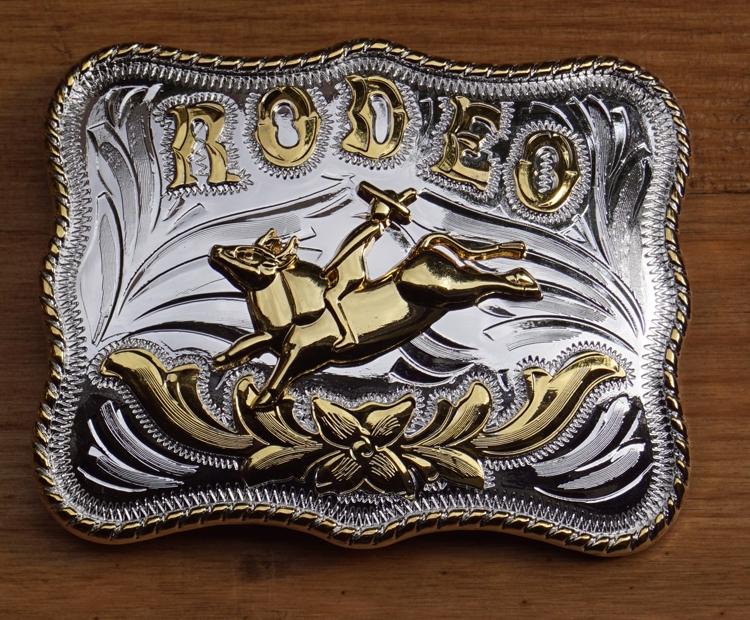 """Buckle / gesp  """" Rodeo rider """"  Zilver- / goud"""