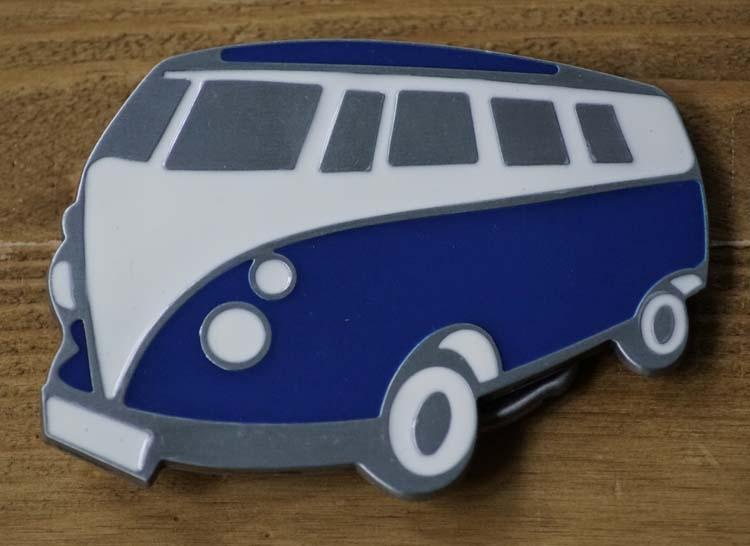 """Buckle / gesp  """" Transport busje  """"  Blauw / wit / zilver"""
