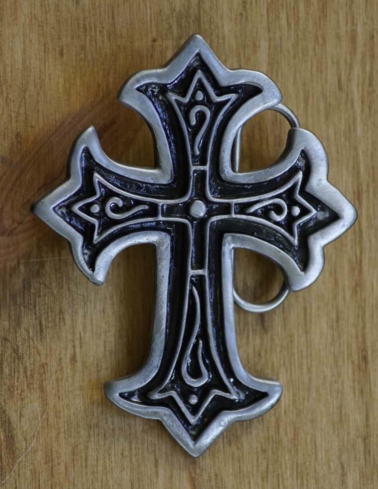 """Buckle / gesp """" Christelijk kruis met sierwerk """""""