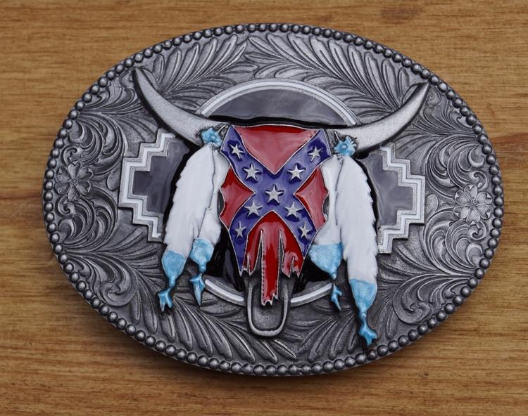 "Buckle / gesp "" Longhorn rebel vlag met veren """