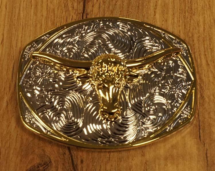 """Buckle """" Longhorn op sierschild """"  zilver-  / goudkleurig"""