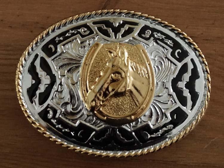 """Buckle """" Paardenhoofd """" goud- / zilverkleurig / zwart"""