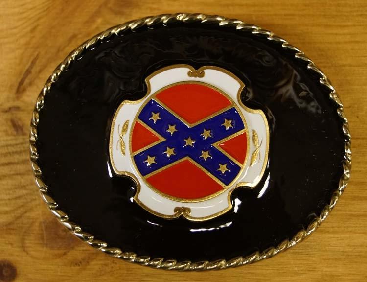 """Buckle """" Rebelvlag """"   Achtergrond zwart"""