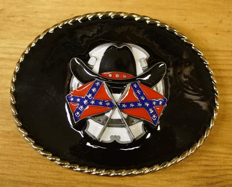 """Buckle """" Rebelvlaggen en cowboyhoed """"   Achtergrond zwart"""