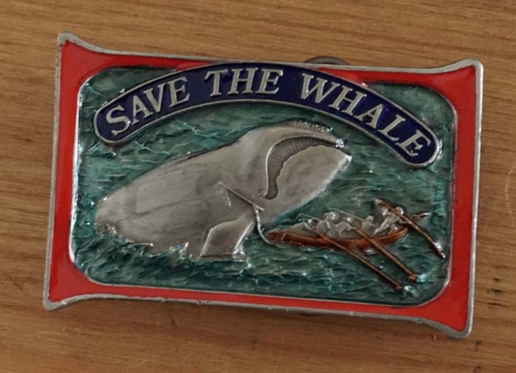 "Buckle  ""Save the whale  ' Walvis"
