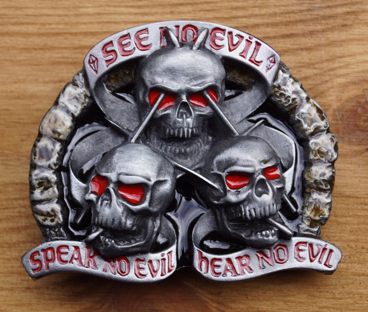 """Buckle """" See on evil, speak on evil, hear """""""