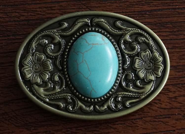 """Buckle """" Sierwerk + turquoise steen """" zwart /koperkleurig"""