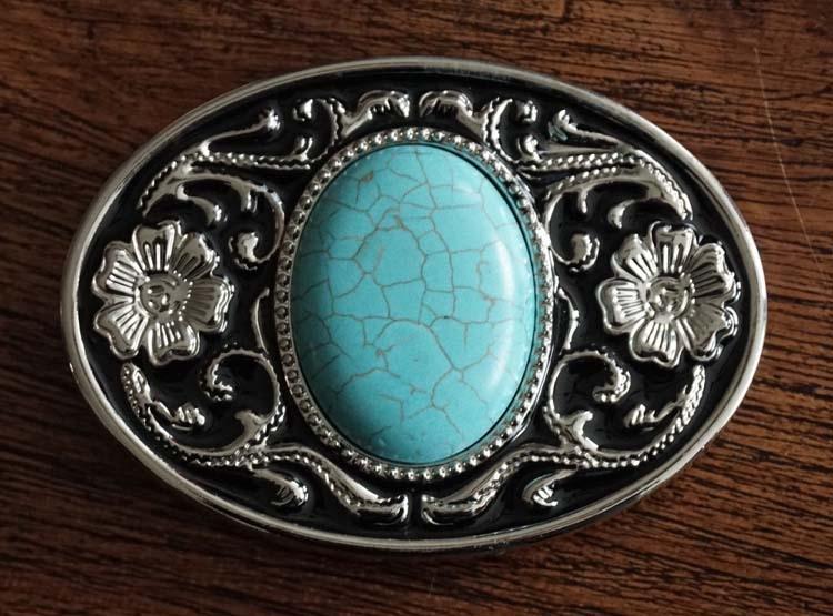 """Buckle """" Sierwerk + turquoise steen """" zwart /zilverkleurig"""