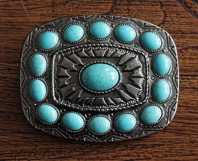 "Buckle "" Sierwerk met turquoise stenen""   nikkel kleurig"