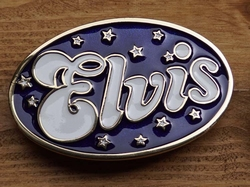 "Elvis buckle  "" Elvis ""  Blauw / wit"
