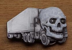 """Riem gesp  """" Vrachtwagen met doodshoofd """""""