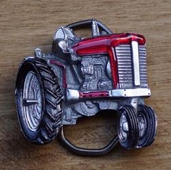 """Riem gesp  """" Tractor """"   Rood / zwart / zilver"""
