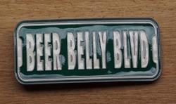 """Tekst gesp  """" Beer  Belly  Blvd """"   Bier buik verdomme"""