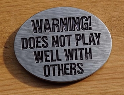 "Tekst gesp "" Warning ! Does not play well with "" UITVERKOCHT"