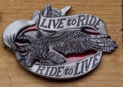 "Motor buckle  "" Live to ride,  Ride to live ""   UITVERKOCHT"