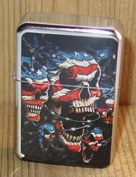 """Aansteker   """" Americaanse skulls """"   Zilverkleurig"""