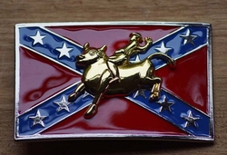 "Buckle / gesp  "" Rodeo rider op rebelvlag """