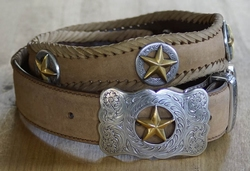 "Sterling zilver western buckle riem "" Gold star "" Beige"