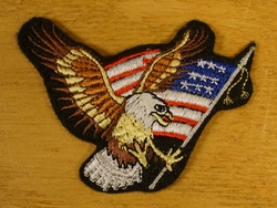 """Strijkapplicaties  """" Adelaar met  Amerikaanse vlag """"  rechts"""