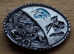 "Buckle / gesp  "" End of the trail ""  Zwart / zilver / blauw"