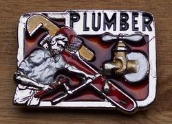 """Losse gesp  """" Plumber """"  gekleurd  ( Loodgieter )"""