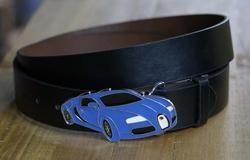 Blauwe sport auto buckle + zwart buckle riem