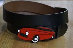 Rode auto buckle + zwart buckle riem