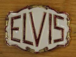 """Elvis buckle  """" Elvis """"  Wit / goud kleurig /  UITVERKOCHT"""