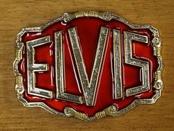 """Elvis buckle  """" Elvis """" Rood / zilver glitter / goud kleurig"""