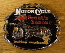 """Motor cylce buckle  """" Scout's hounour Indian """"  Zwart / goud"""